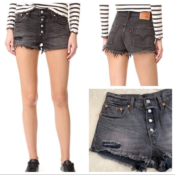 35a10b32 Levi's Shorts | Levis 501 Exposed Button Fly Shredded Onyx | Poshmark